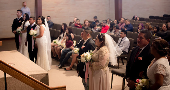 Four couples join in marriage, commit to each other and their families