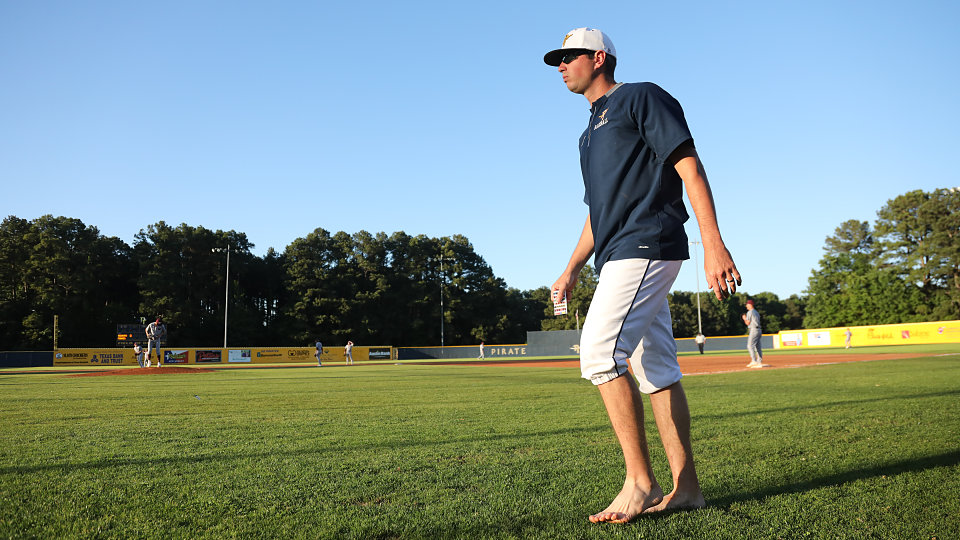 baseball coach highlights need for footwear by going barefoot at game