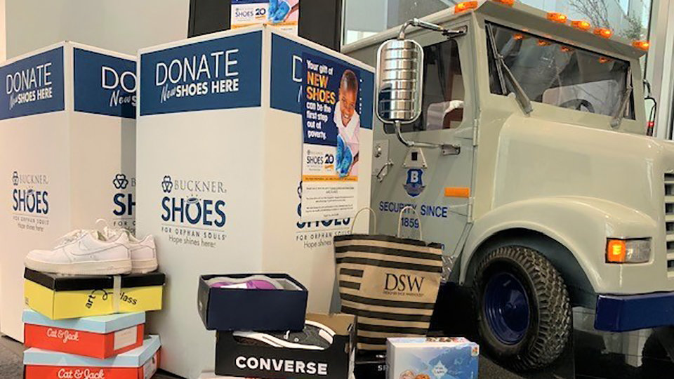 brinks donated shoes to fill a large truck