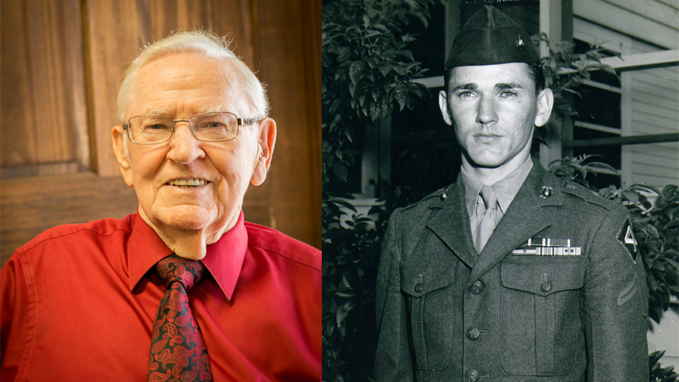 senior veteran side by side with his military photograph