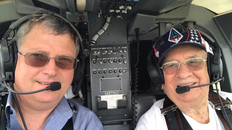 senior flying helicopter