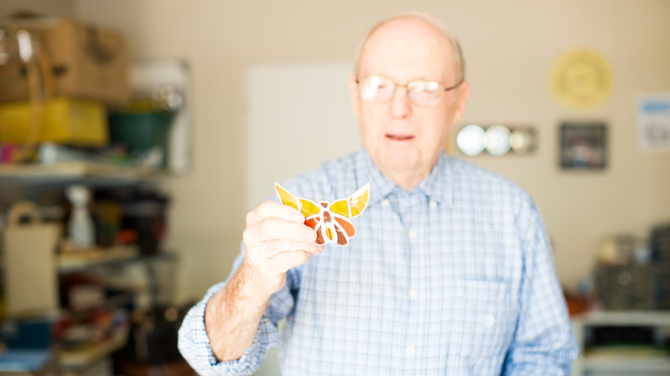 senior man with butterfly
