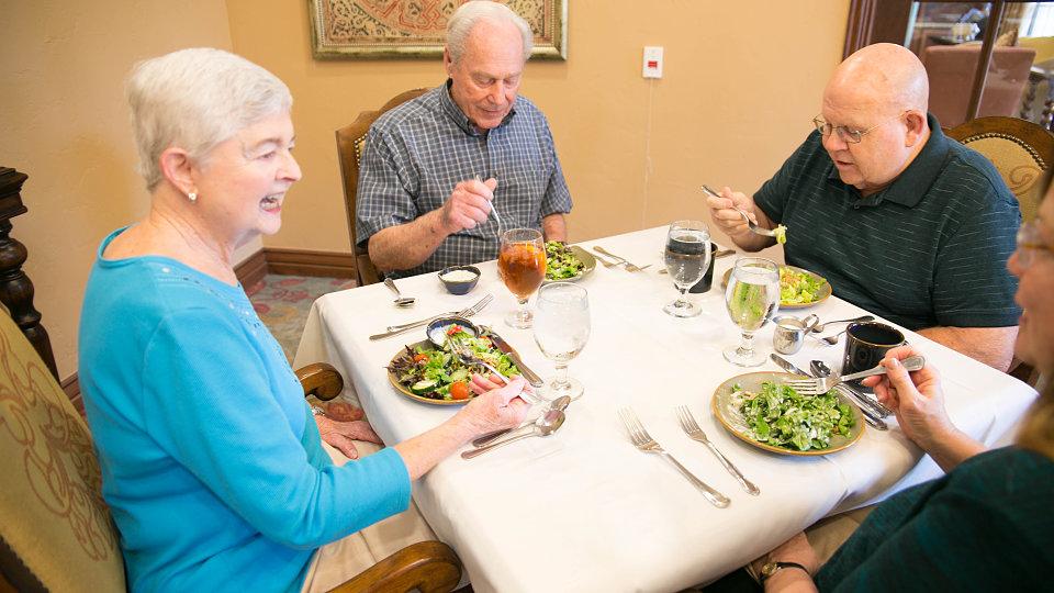seniors enjoying salad