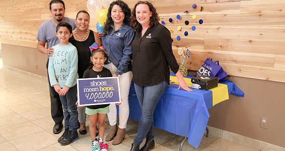 Buckner Shoes for Orphan Souls® presents special 4 millionth pair of shoes collected to 7-year-old in Dallas