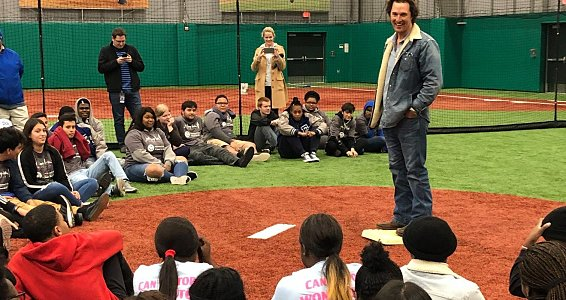 Matthew McConaughey speaks to youth at the Buckner Family Hope Center at the Texas Rangers MLB Youth Academy