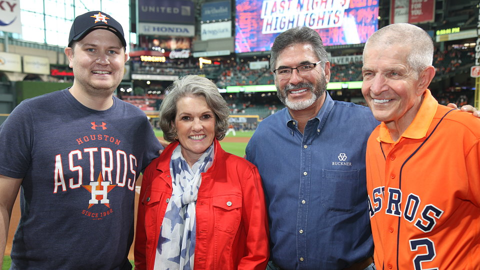 mattress mack and albert reyes with ceremonial first pitch at houston astros baseball game