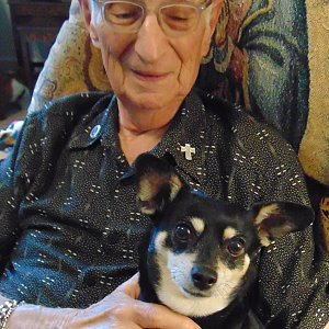 Ray DeMartino of Calder Woods with Abby, his 7-year-old chihuahua-terrier mix.