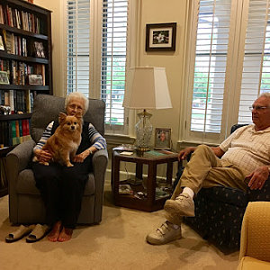 Odis and Gwen Skinner of Buckner Villas with their dog, Lyric.