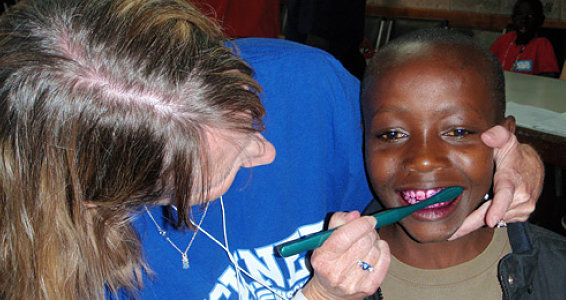 Kenya Children Learn Dental Hygiene from Mission Team
