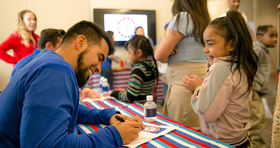 Friday photo: Texas Rangers visits Family Hope Center in Longview