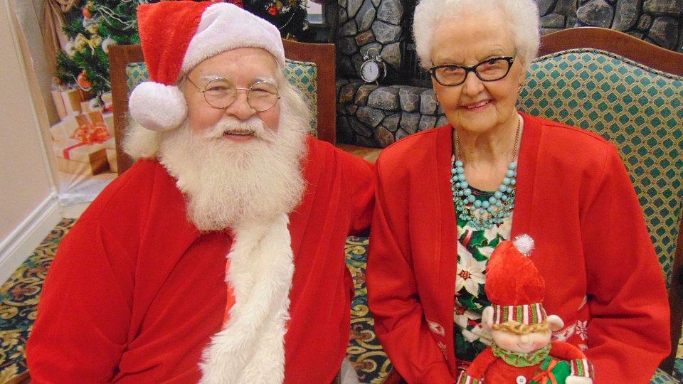 senior with santa