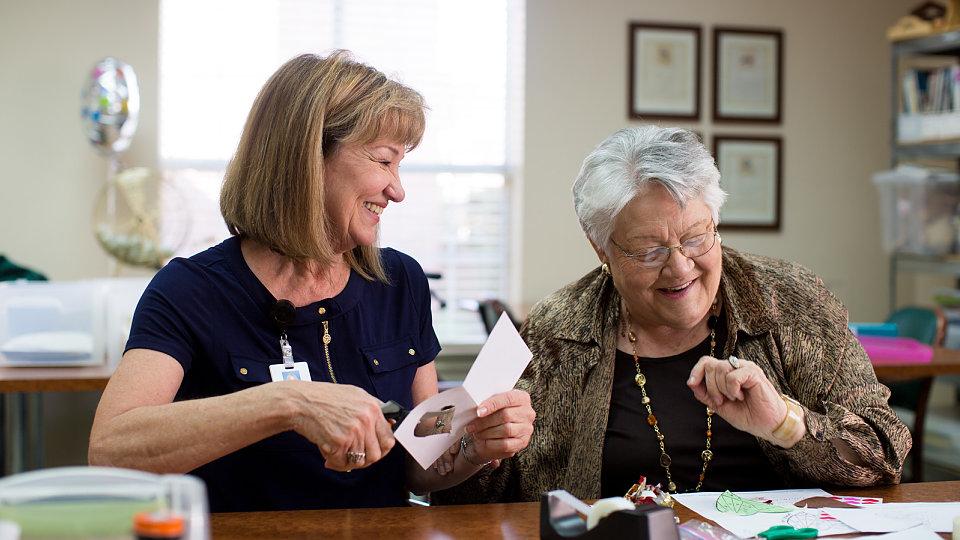 senior making cards