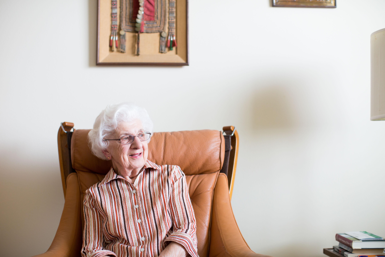 senior woman in chair